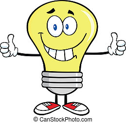 Smiling Light Bulb Cartoon Character Giving A Double Thumbs...