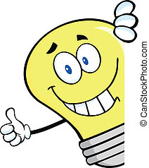 Smiling Light Bulb Behind A Sign - Smiling Light Bulb Giving...