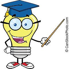 Light Bulb Teacher Character - Smiling Light Bulb Teacher...
