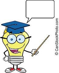 Light Bulb Teacher - Smiling Light Bulb Teacher Character...