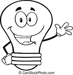 Outlined Light Bulb Cartoon Mascot Character Waving For...