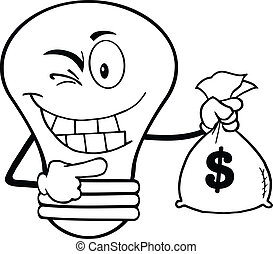 Outlined Light Bulb With Money - Outlined Light Bulb Cartoon...