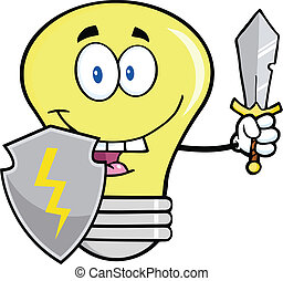 Light Bulb With Shield And Sword