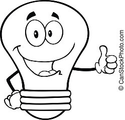 Outlined Light Bulb Cartoon Character Giving A Thumb Up