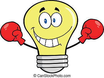 Light Bulb Wearing Boxing Gloves - Smiling Light Bulb...