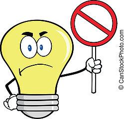 Angry Light Bulb Character