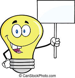 Light Bulb Holding Up A Blank Sign - Light Bulb Cartoon...