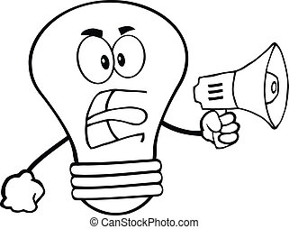 Outlined Angry Light Bulb Character