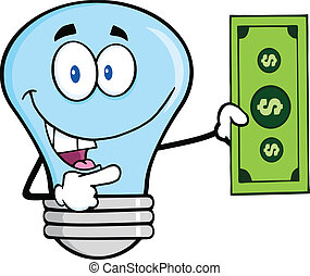 Blue Light Bulb With A Dollar Bill - Blue Light Bulb...