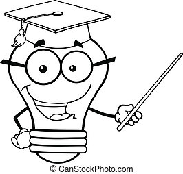 Light Bulb Teacher With A Pointer - Outlined Smiling Light...