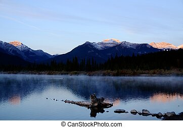 Vermillion Lakes of morning glow,Canadian Rockies,Canada -...