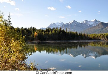 Herbert Lake in autumn,Canadian Rockies,Canada - Reflection...