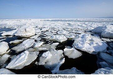 Flotar, hielo, Shiretoko, Hokkaido, japón