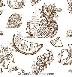 Seamless pattern of tropical fruit doodles