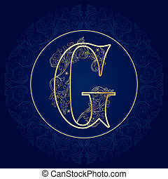 Vintage floral alphabet, letter G. Vector illustration