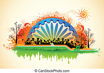 Indian citizen waving flag on tricolor flag - illustration...