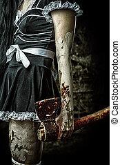 mal, mujer, tenencia, sangriento, Hacha