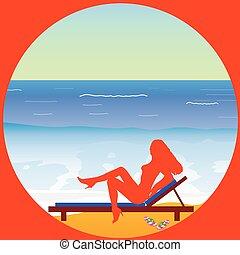 girl enjoy on the paradise beach vector illustrtion
