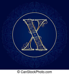 Vintage floral alphabet, letter X. Vector illustration