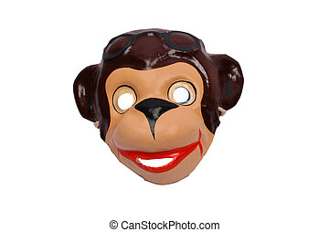 mask of brown monkey isolated over white background