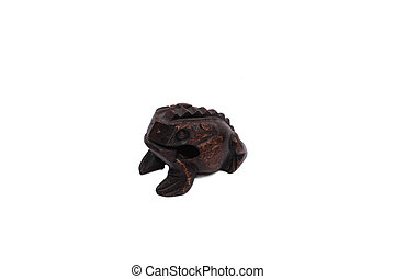wooden croaking frog isolated over white