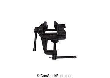 vise - small metall vise isolated over white background