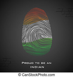 Proud to be an Indian - illustration of thumbprint in Indian...