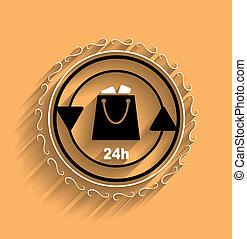 Vector shopping bag icon modern flat design