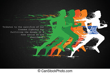 Indian Runners - illustration of runners in grungy Indian...