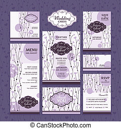 set of wedding cards - Set of wedding cards. Wedding...