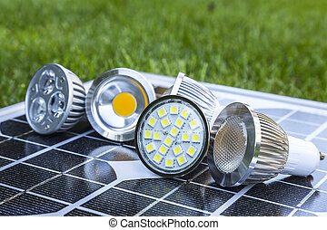 various LED GU10 bulbs on photovoltaics - various GU10 LED...
