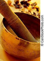 tibetan singing bowl - closeup of a tibetan singing bowl...