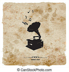 Vintage postcard. Retro turntable on grunge background