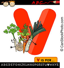 letter v with vegetables cartoon illustration - Cartoon...
