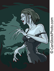 Vampire woman - Illustration hungry vampire with fangs with...