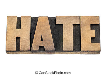 hate word in wood type - hate word - isolated text in...