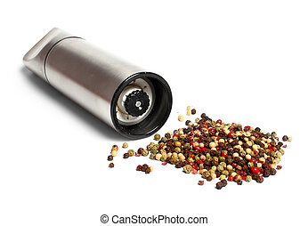 steel kitchen mill with four kind of pepper