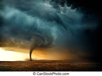 Sunset Tornado - A Tornado forming in the evening from a...