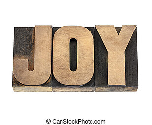 joy word in wood type - joy word - isolated text in vintage...