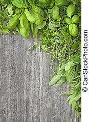 fresco, hierbas, encima, gris, de madera