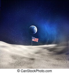 Man On The Moon - An American Flag on the Moon with the...