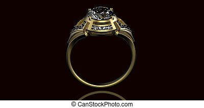Gold Wedding Ring with diamond. Holiday symbol