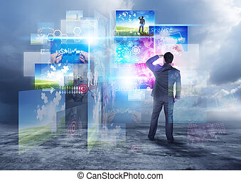 Modern Information World - A businessman looking into visual...