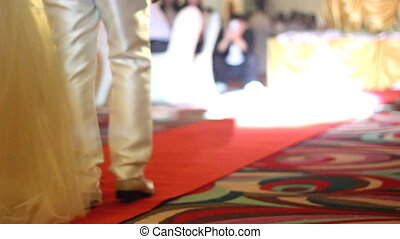 Couple walking on red carpet in wedding party