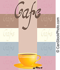 cafe - an illustration of a vintage cafe advert with yellow...