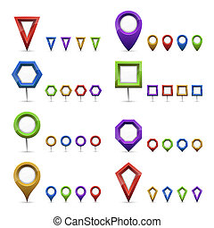 Map markers - Vector set of different colorful map markers.