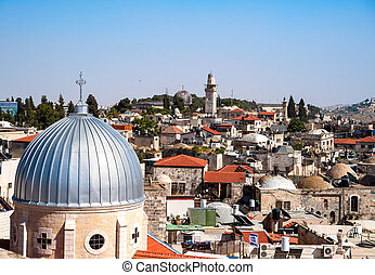 Jerusalem Old City - View on the landmarks of Jerusalem Old...