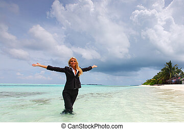 happy business woman on the ocean coast - happy business...