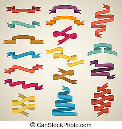 Retro styled ribbons - Vector set of different retro styled...