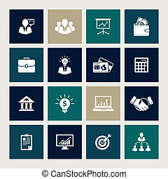 Business icons - Vector set of 16 business icons